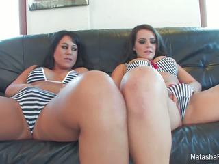 Busty babes Natasha Nice and Kayme Kai share a cock