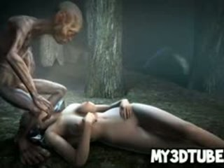 Hot 3D Babe Getting Fucked Outdoors By Gollum
