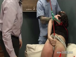 Extreme violently copulated bdsm babe with ropes