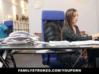 brunette, sex, office