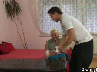 Granny seduces young boy to fuck