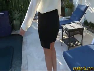 Flirty real estate agent fucks her client to make the sale