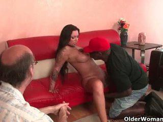 Cuckold pervert watches milf getting fucked
