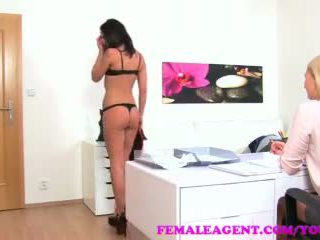 FemaleAgent Slim beauty gets her first lesbian experience on agents couch