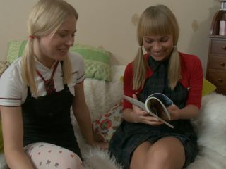 Horny Blonde Teens Fuck with Toys on the Sofa: Free Porn 96