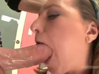 Cock starved babe Casey Chase gets her mouth whacked hard with a thick meatpole