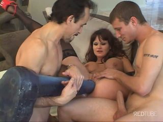Totally massive threesome toy masturbation
