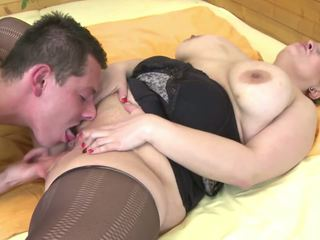 Mom with Big Saggy Tits Fucked by Young Not Her Son...