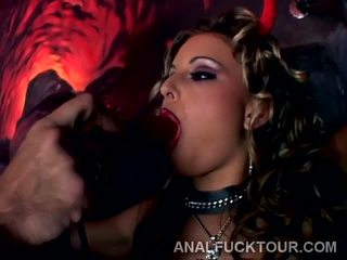 Rough Double Penetration for Cockstarving Goth Bitch.