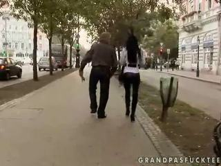 Pretty hot teen fucking with old man
