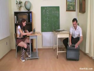Schoolgirl Teen Blows Her Teacher