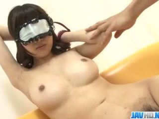 Busty Ririka Suzuki blows on cock like a true angel