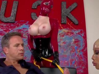 Threesome with Red and Clear Latex Catsuits: Free Porn 85