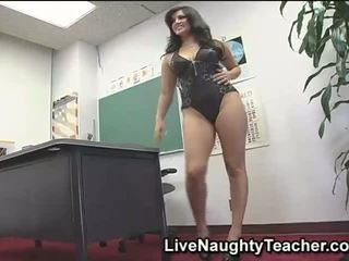 Horny and busty teacher masturbating in black lingerie