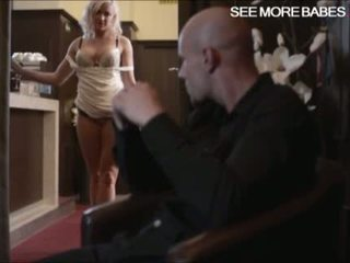 Big tits blond babe Victoria Redd gives head and twat fucked