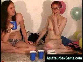 Lesbian amateur groupsex dare party