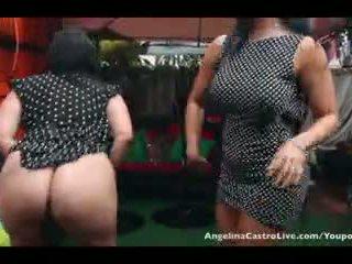 Angelina castro e senhorita raquel cona jogar em o chuva!