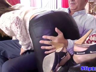 Young babe sucking old mans cock