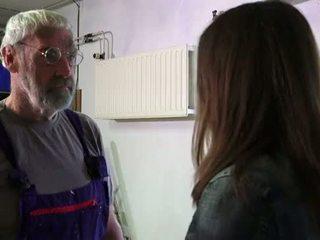 Bearded big dick grandpa shoving teeny...