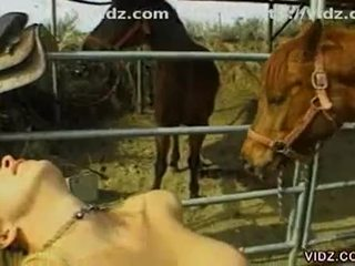 Silicon tits naughty lesbian sluts making out in the ranch