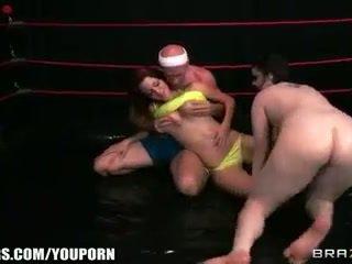 brunette, big boobs, oil