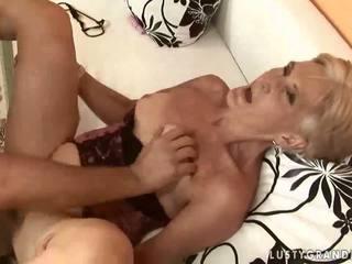 Hot granny enjoying sex