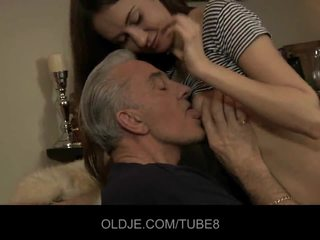 Teeny babe having anal sex with old guy