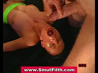 Bukkake fetish slut fuck and cum shower