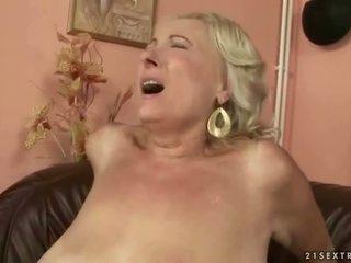 Busty fat grandma fucking young cock