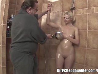 young, shower, cumshot
