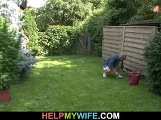 Wife fucked by the gardener with husband there