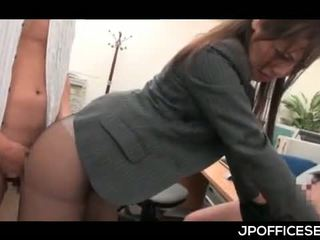 Asian Office Cutie In Pantyhose Nailed From Behind While