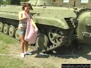 Busty teen Alexa toy twat in tank