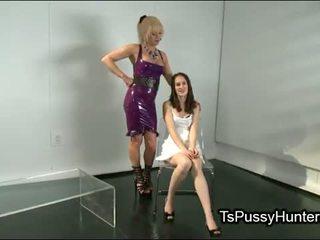 Tranny licks and fucks brunette hottie