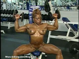 brunette, solo girl, muscular