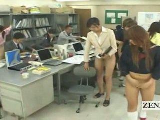 Subtitled অর্ধেক নগ্ন bottomless জাপানী স্কুল অফিস