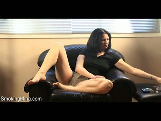 Nasty Mina Smoking Her Cigar Onto The Couch