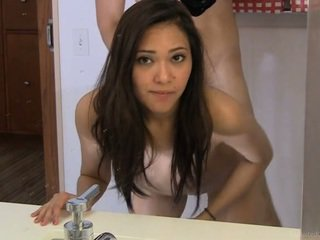 19 yo sweet Diane swallowing while she's sitting on the toilet