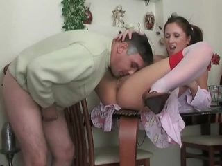 Teen in stockings gets fucked by older dude