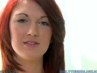 Red Haired Junior Beauty Alana Rains Caping A Giant Meat Stick In Point Of View