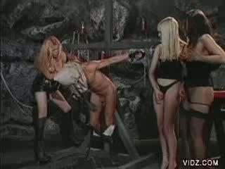 Three filthy tranny sluts dominate hunky dude
