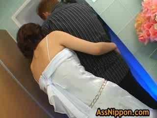 Adorable asian chick is enjoying her guys