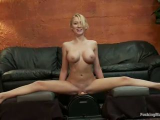 Sensual Blondie Is Trying A Huge Core Machine For The Opening Time