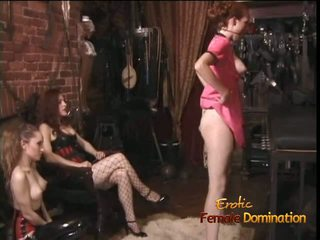Two Latex-clad Harlots Spank a Ginger Bitch Before.