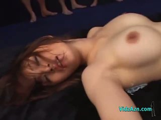 Hot asia prawan fucked by many guys in masks creampies on the mattress in the guo