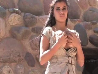 Alexa Loren busty naughty brunette girl posing and flashing boobs and pussy