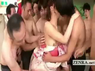 Kimono clad 日本語 av スター commences 最後の 輪姦