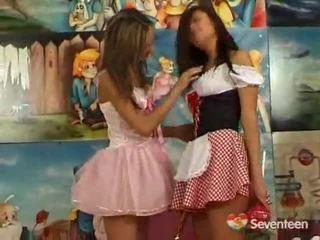 Leszbikus teenagers having funtime