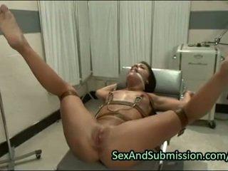 Hot brunette deep throat fucked in bdsm