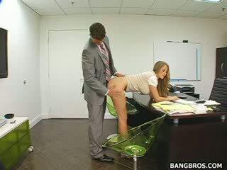 Panjang haired berambut pirang seducing dia bos